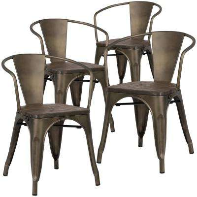 Cantina Bronze Arm Chair with Elm Wood Seat (Set of 4)