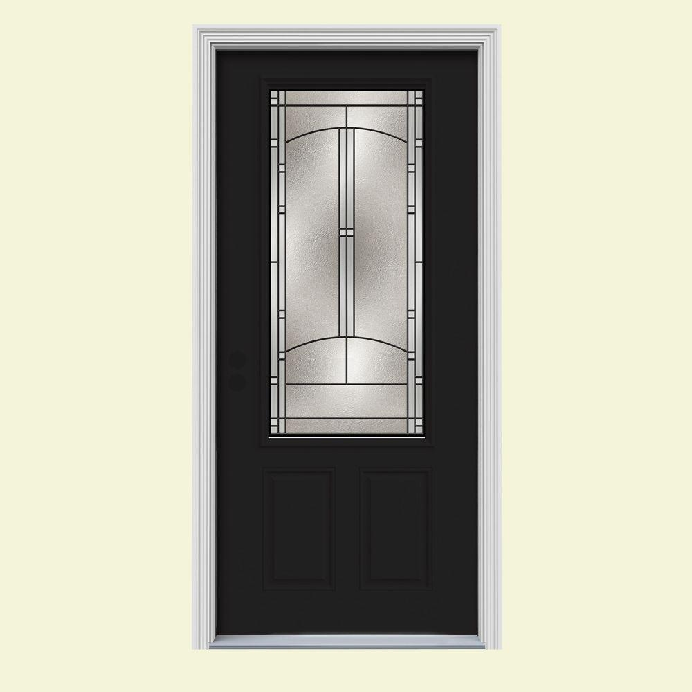JELD-WEN 32 in. x 80 in. 3/4 Lite Idlewild Black Painted Steel Prehung Right-Hand Inswing Front Door w/Brickmould