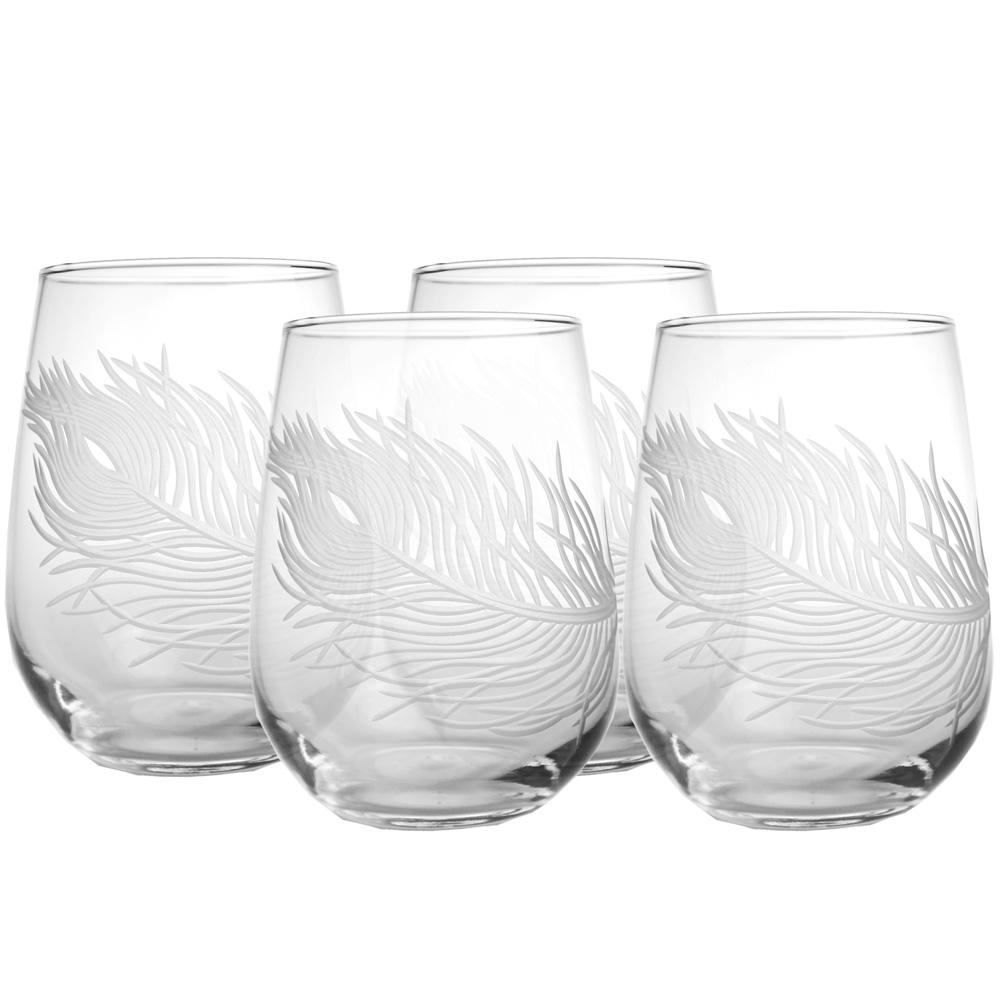 Peacock 17 oz. Clear Stemless Wine Glass (Set of 4)