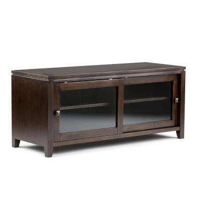 Cosmopolitan Solid Wood 48 in. Wide Contemporary TV Media Stand in Coffee Brown for TVs Upto 50 in.
