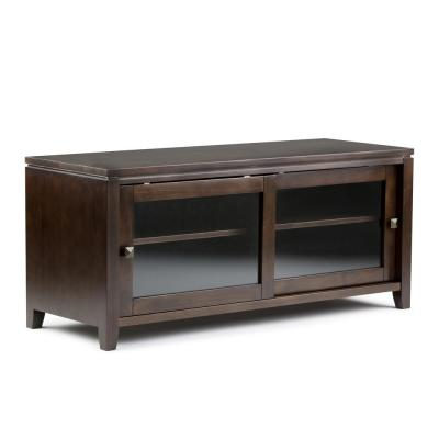 City Solid Wood 48 in. Wide Contemporary TV Media Stand in Mahogany Brown For TVs up to 50 in.