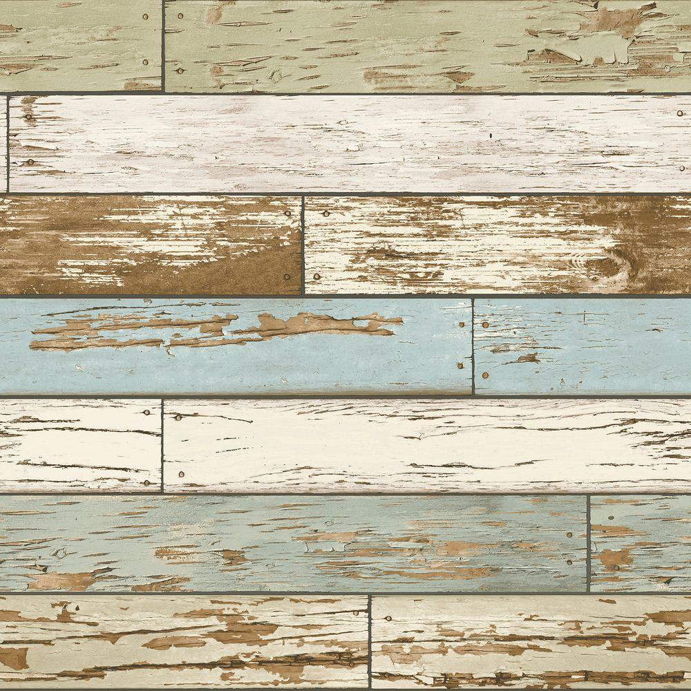 Nuwallpaper multi color old salem vintage wood peel and for Removable wallpaper wood paneling