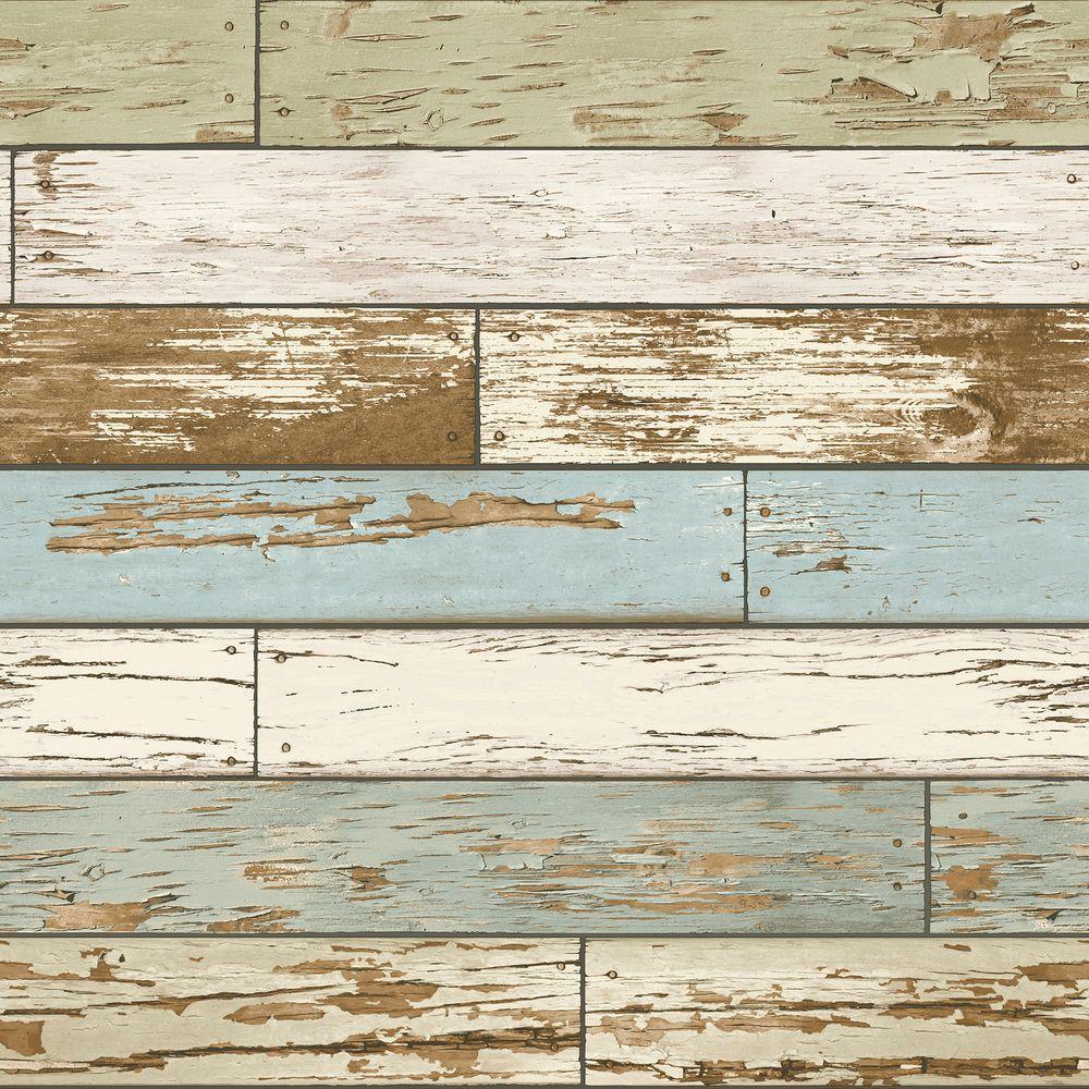 Multi Color Old Salem Vintage Wood Peel and Stick Wallpaper