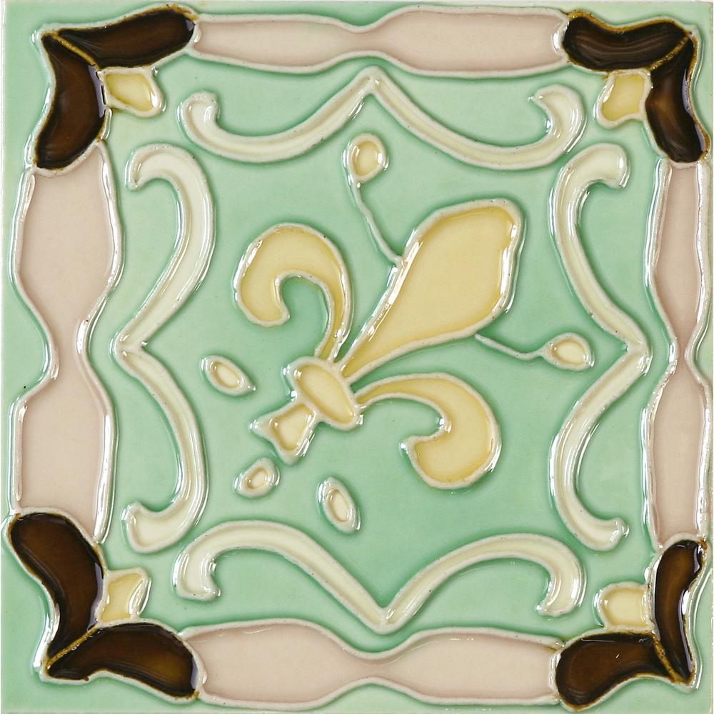 Solistone Hand-Painted Ceramic Fleur De Lis 6 in. x 6 in. x 6.35 mm Glazed Ceramic Wall Tile (2.5 sq. ft. / case) Inspired by the earthen landscape of Mexico and the vivid colors of traditional Spanish style, this hand-painted ceramic deco tile infuses interior walls with Old World influences. Soft shades of brown, green, yellow and ivory form the iconic shape of the fleur de lis while a raised relief pattern enhances the appearance of the ornamental design. A high glazed finish gives this ceramic wall tile a glassy surface texture that's beautiful on backsplashes in bathrooms and kitchens.