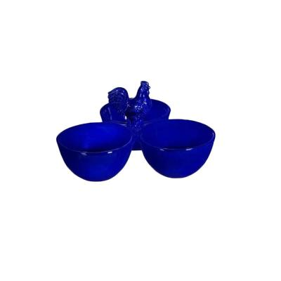 3-Piece Blue Bowl with Rooster