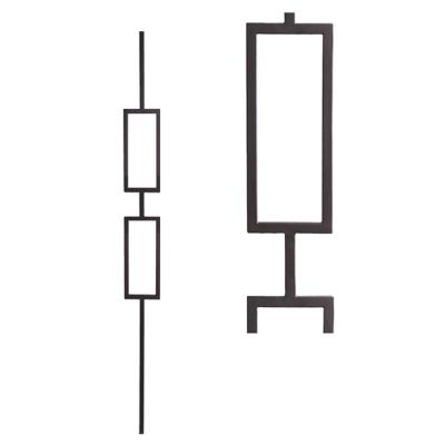 Aalto Modern 44 in. x 0.5 in. Satin Black Double Rectangle Hollow Wrought Iron Baluster