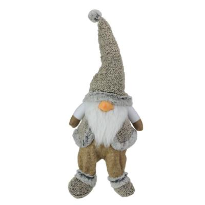 17 in. Gray and Beige Sitting Christmas Gnome Decoration