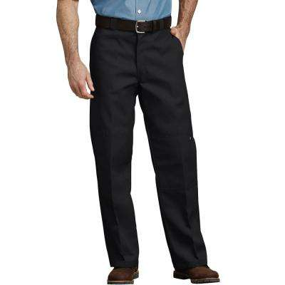 Men's Black Loose Fit Double Knee Work Pants