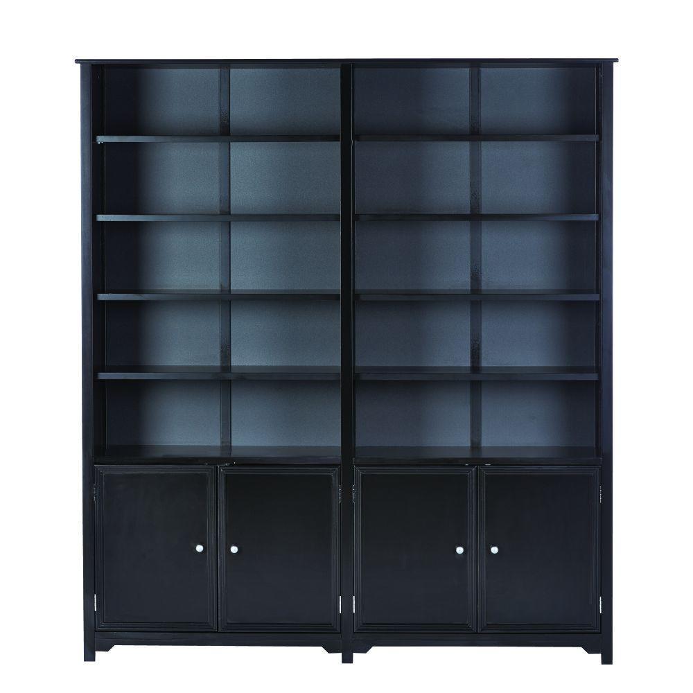 """Oxford Black 64"""" W Storage Open Bookcase"""