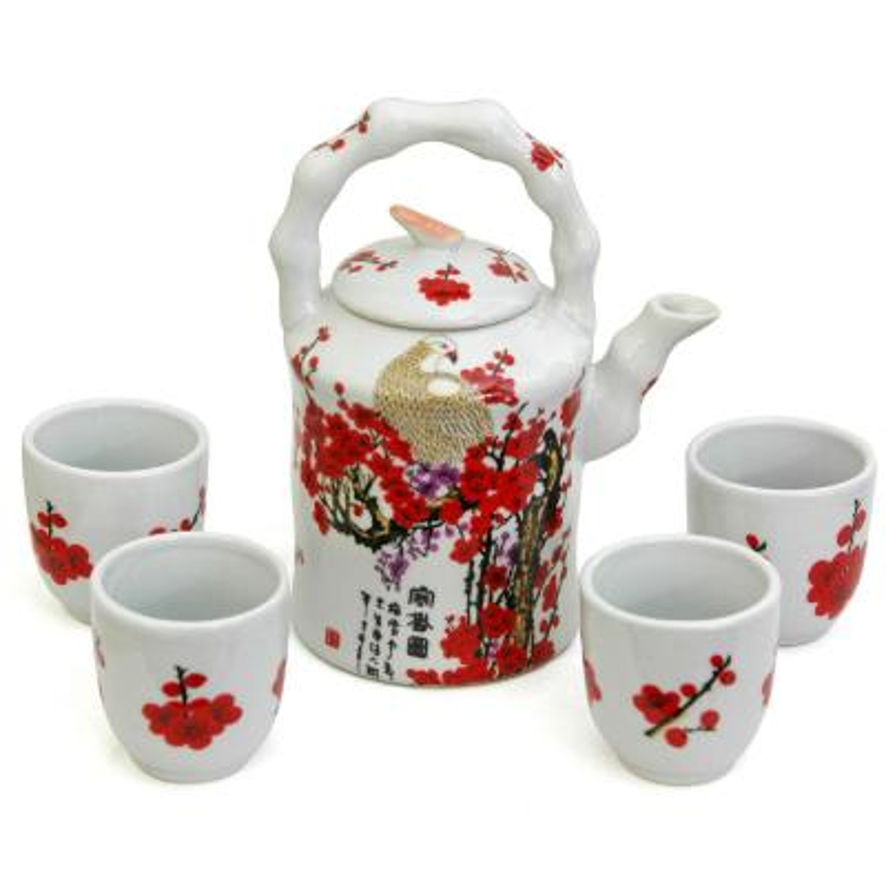 Oriental Furniture Cherry Blossom Porcelain Tea Set