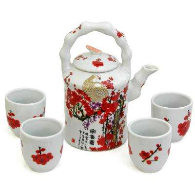 Oriental Furniture Cherry Blossom Porcelain Tea Set