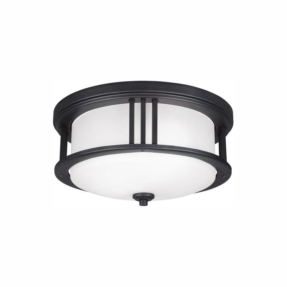 Sea Gull Lighting Crowell Black 2-Light Outdoor Flush Mount with LED Bulbs