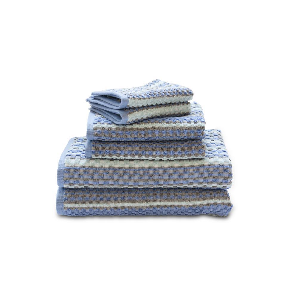 Waffle Check 6-Piece 100% Cotton Bath Towel Set in Ocean
