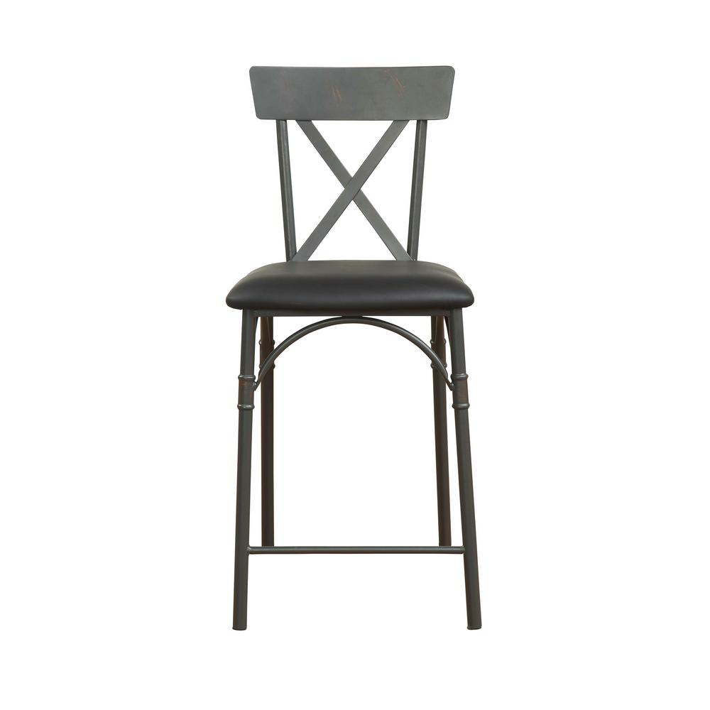 Itzel Sandy Gray and Black PU Counter Height Chair
