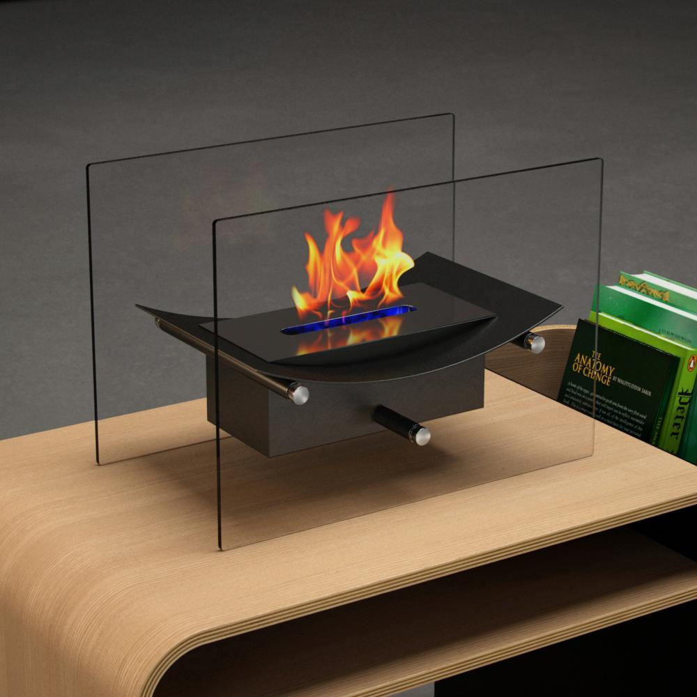Moda Flame Cavo 14 In. Vent Free Ethanol Fireplace In Black