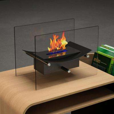 Cavo 14 in. Vent-Free Ethanol Fireplace in Black