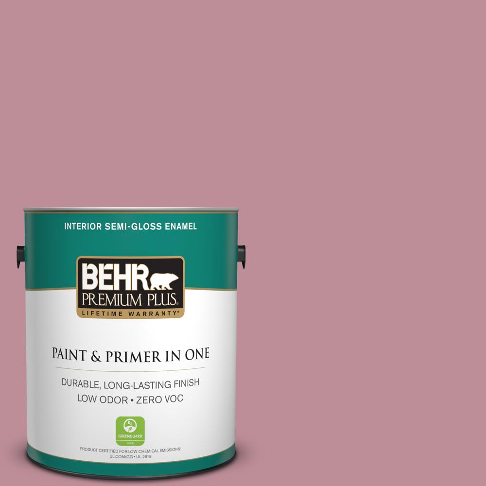BEHR Premium Plus 1-gal. #S130-4 Cherry Juice Semi-Gloss Enamel Interior Paint