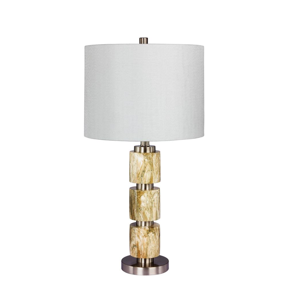 Fangio lighting 27 in stacked resin and metal table lamp in a stacked resin and metal table lamp in a brushed steel with mozeypictures Image collections