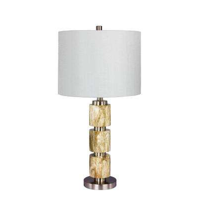 27 in. Stacked Resin and Metal Table Lamp in a Brushed Steel with Brown Faux Marble