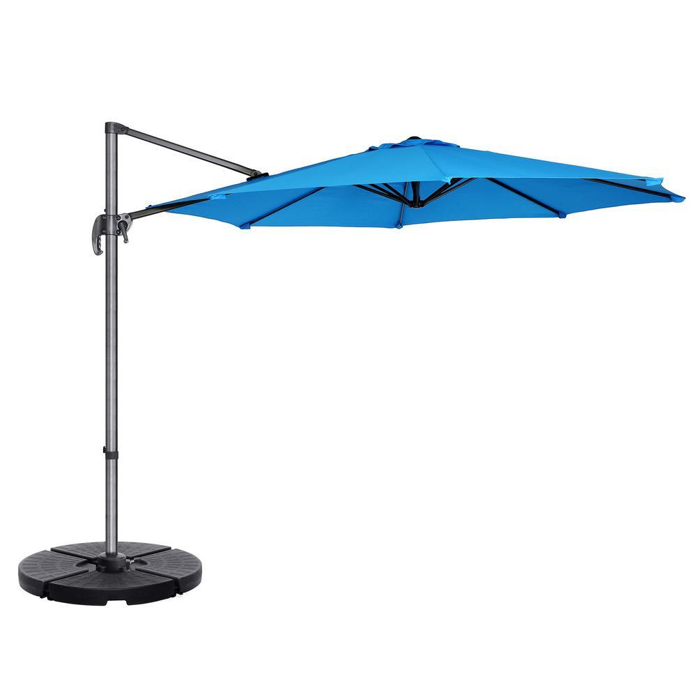 10 ft. Steel Cantilever Tilt Patio Umbrella in Blue