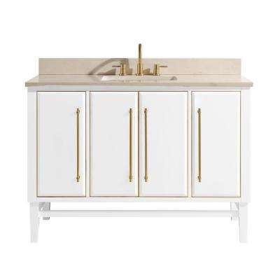 Mason 49 in. W x 22 in. D Bath Vanity in White with Gold Trim with Marble Vanity Top in Crema Marfil with White Basin