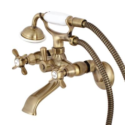 Victorian 3-Handle Wall Claw Foot Tub Faucet with Handshower in Antique Brass