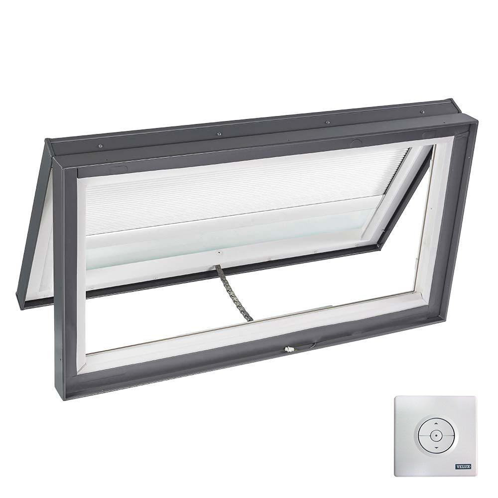 Velux 46 1 2 in x 22 1 2 in solar powered venting curb for Velux solar powered blinds