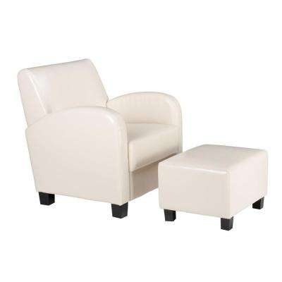 Cream Vinyl Arm Chair with Ottoman