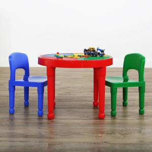 Primary 2-in-1 Plastic LEGO-Compatible Kids Activity Table and 2 Chairs Set