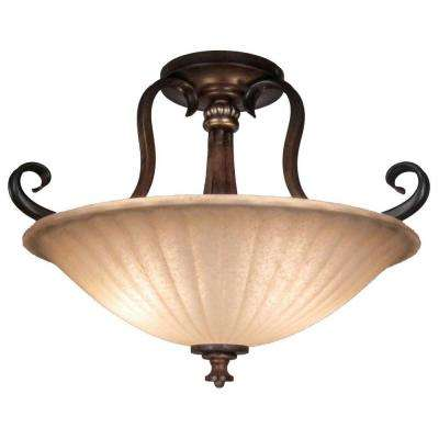 Reims 17 in. 2-Light Antique Bronze Semi-Flushmount with Tea Stained Glass Shade