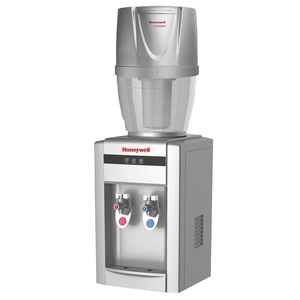 Honeywell Tabletop Top Loading Hot Cold Water Dispenser With 4 Gal Filtration System
