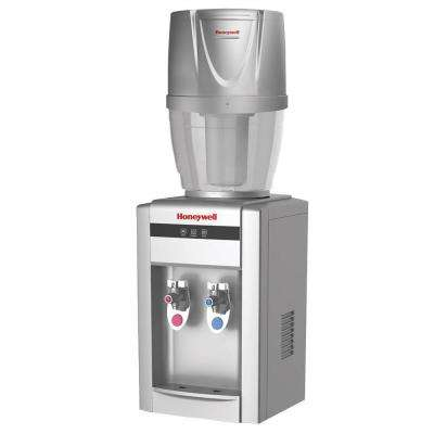 Tabletop Top-Loading Hot/Cold Water Dispenser with 4 Gal. Filtration System in Silver