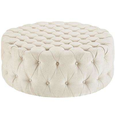 Beige Amour Upholstered Fabric Ottoman