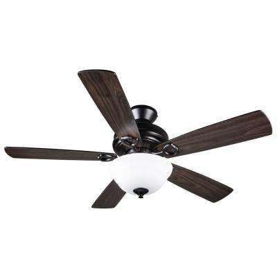Dome 52 in. Indoor Dark Wood Black Semi-Flush Ceiling Fan with Light Kit and Remote Control
