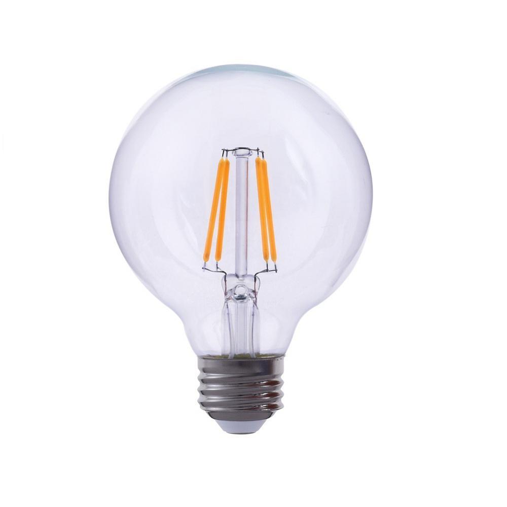 40-Watt Equivalent G40 Globe Dimmable Clear Glass Filament LED Light Bulb Warm White 2700K