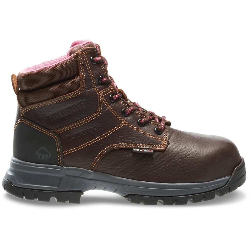 6ba9df3c9e8 Wolverine Women's Piper Size 8.5W Brown Full-Grain Leather Waterproof  Composite 6 in. Work Boot