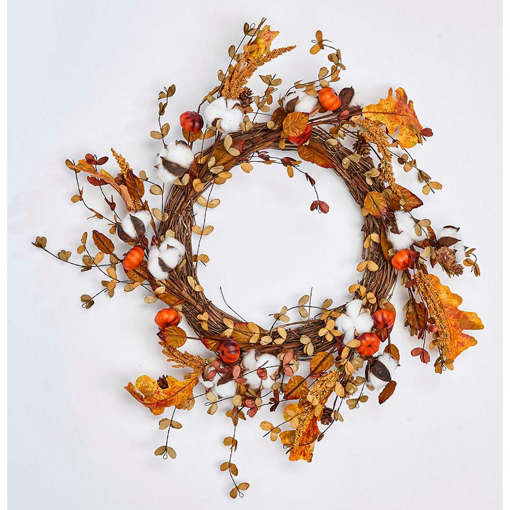 22 in. Cotton with Lvs and Mini Pumpkins Wreath on Natural Twig Base