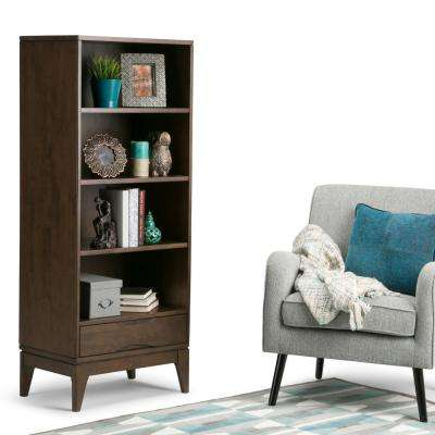 Harper Walnut Brown Storage Open Bookcase