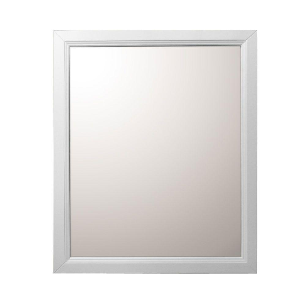 Bellaterra Home Huron 30 in. W x 1 in. D x 36 in. H Single Framed Wall Mirror in White
