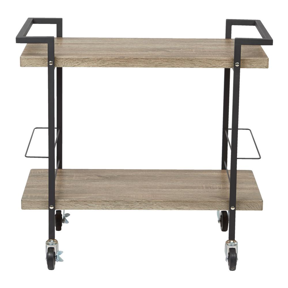 Maxwell Serving Cart in Ash Veneer with Black Powder Coated Steel