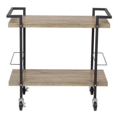 Maxwell Serving Cart in Ash Veneer with Black Powder Coated Steel Frame
