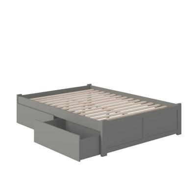 Concord Full Platform Bed with Flat Panel Foot Board and 2 Urban Bed Drawers in Grey