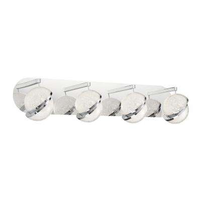 Silver Slice 4.5 in. Chrome LED Vanity Light Bar with Crystal Shades