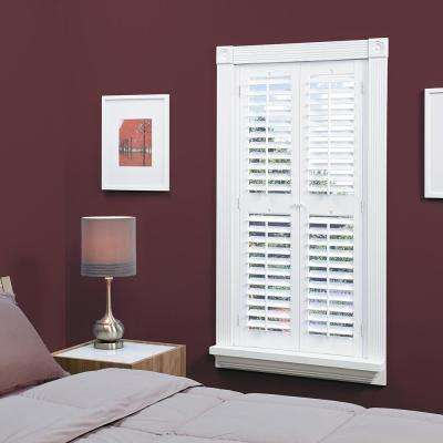 White 2-1/4 in. Plantation Faux Wood Interior Shutter 35 to 37 in. W x 72 in. L