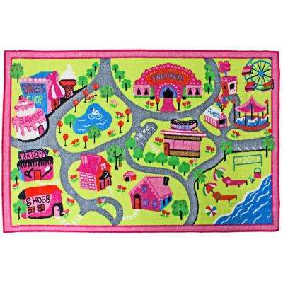 Town Fun Multi Color 3 Ft X 5 Kids Play Area Rug