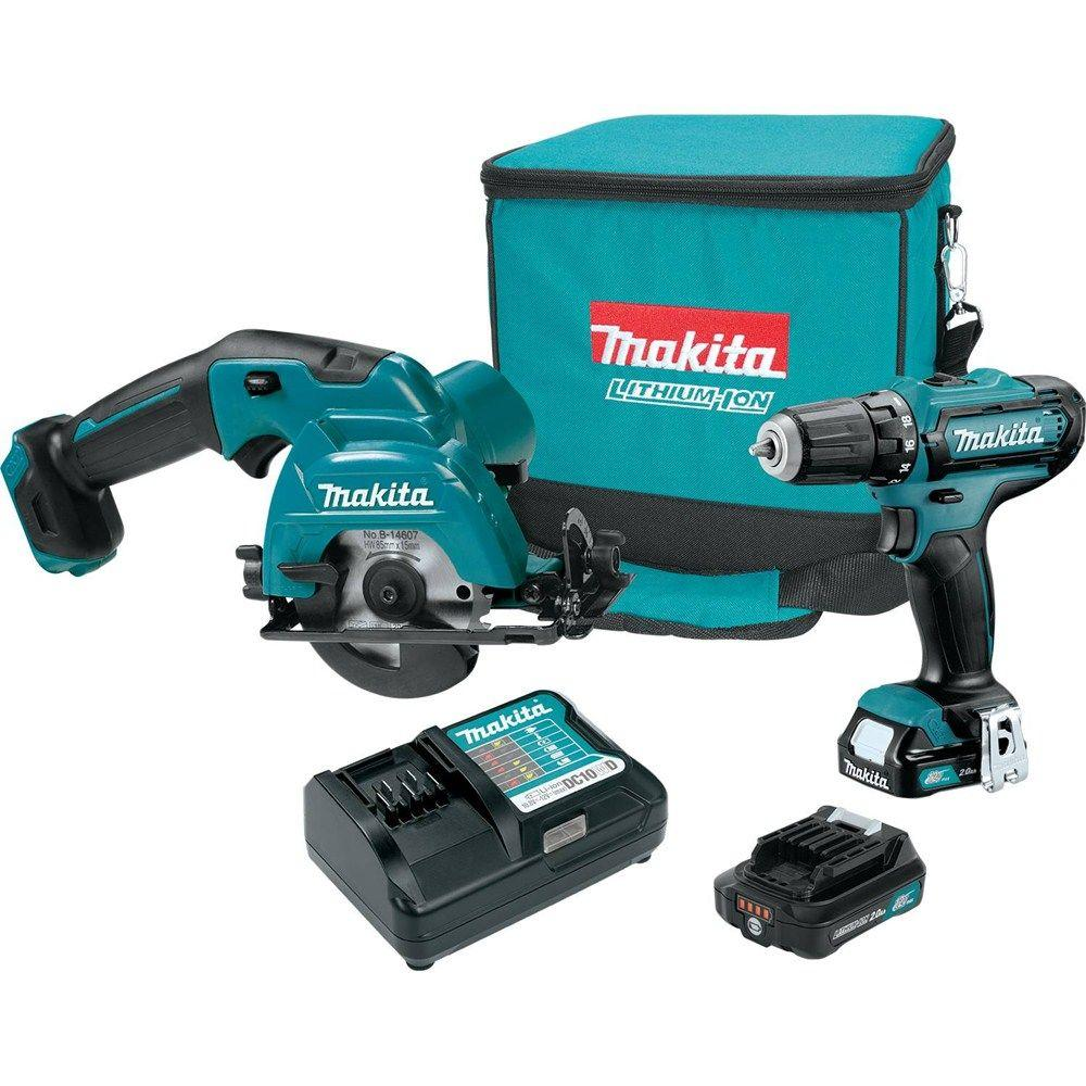 Makita 12-Volt MAX CXT Lithium-Ion Cordless Drill/Circ Saw Combo Kit (2-Piece) with (2) 2.0 Ah Batteries, Charger, Tool Bag