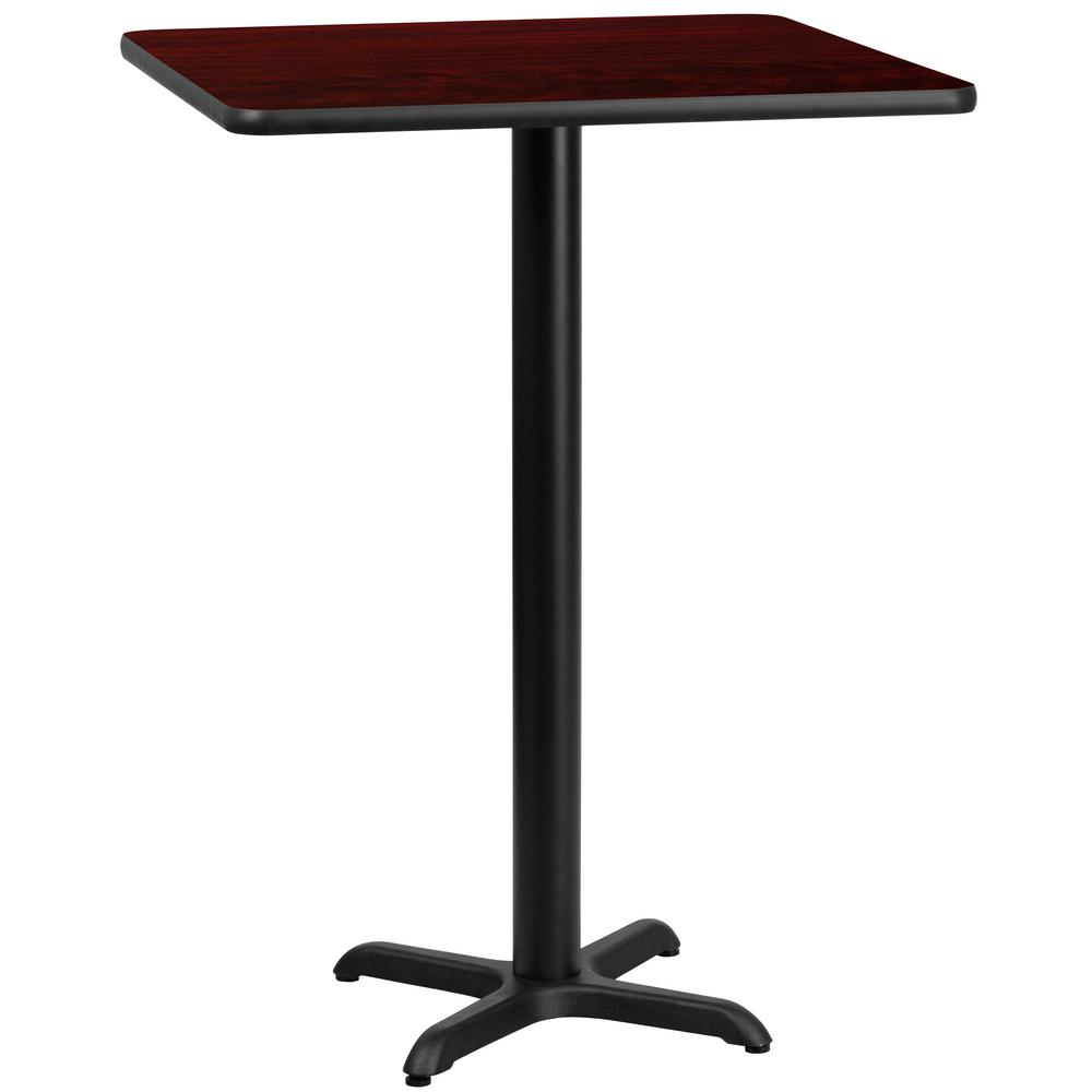 30 in. Square Black and Mahogany Laminate Table Top with 22