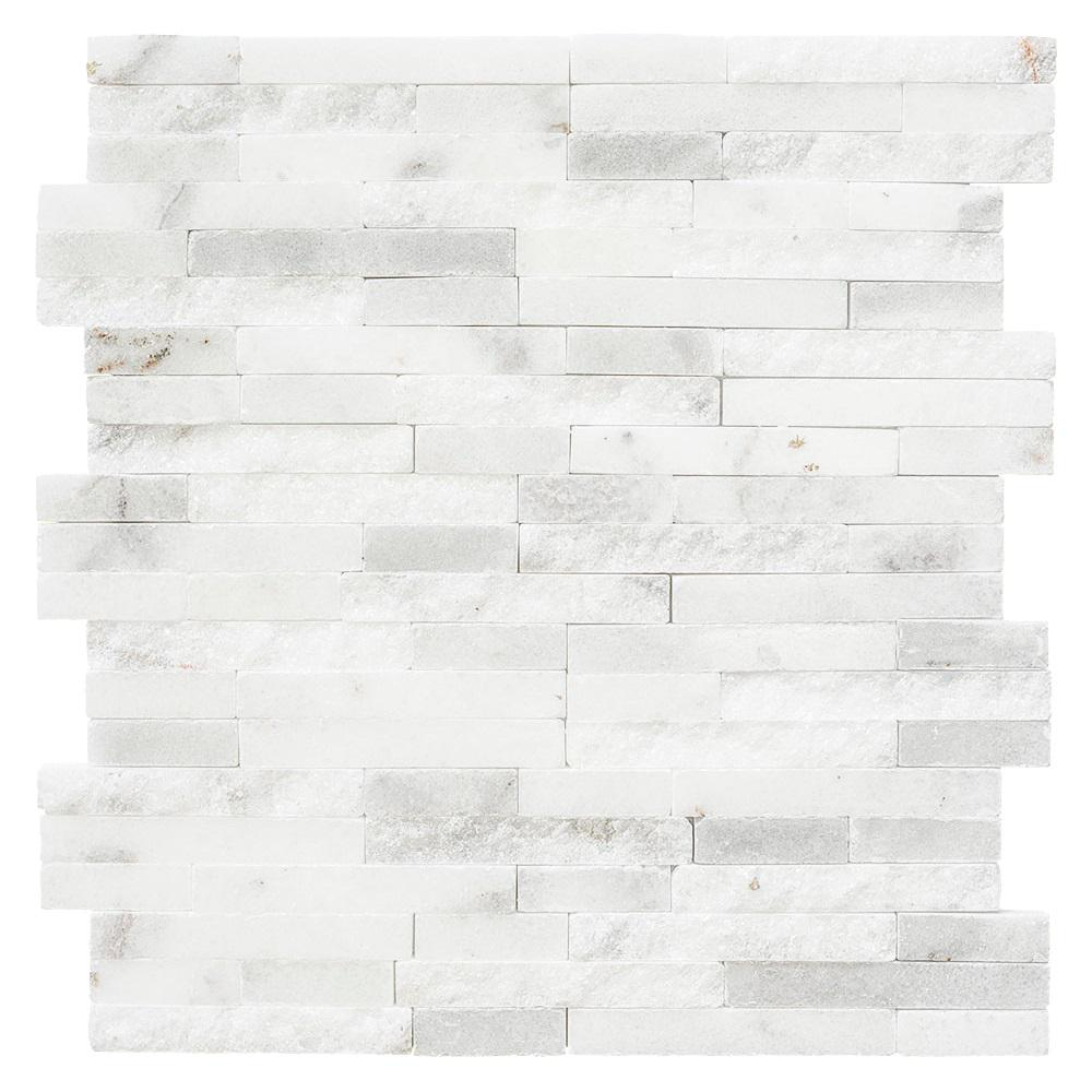 Jeffrey Court Churchill White Split Face 11.75 in. x 12.625 in. x 13 mm Marble Mosaic Wall Tile