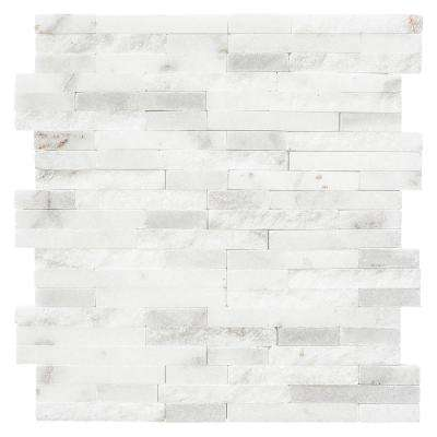 Churchill White Split Face 11.75 in. x 12.625 in. x 13 mm Marble Mosaic Wall Tile