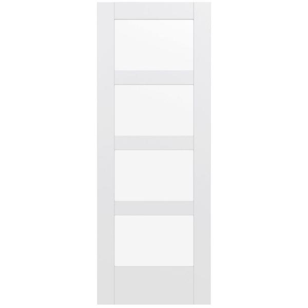 32 in. x 80 in. MODA Primed PMC1044 Solid Core Wood Interior Door Slab w/Clear Glass